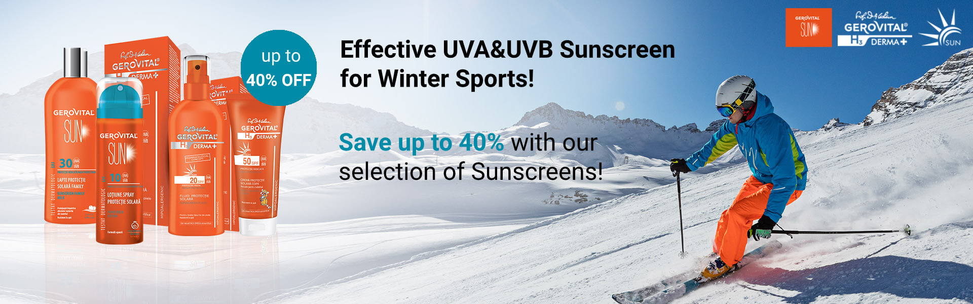 Effective UVA&UVB Sunscreen for Winter Sports!