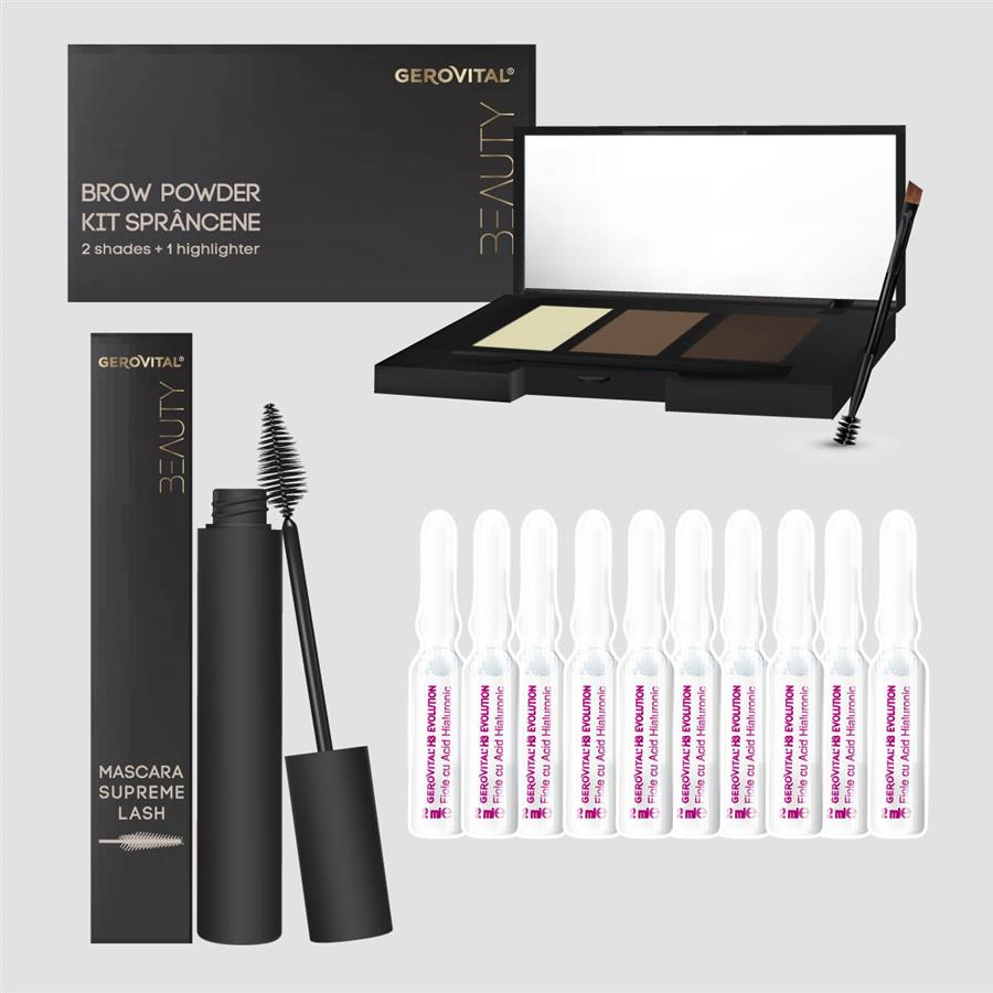 Gift Pack Gerovital H3 Evolution + Beauty: 10 x Hyaluronic Acid ampoules, 5% + Brow Powder Trio + Supreme Lash Mascara