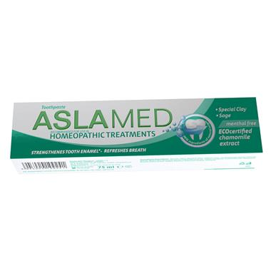Toothpaste recommended in homeopathic treatments Aslamed