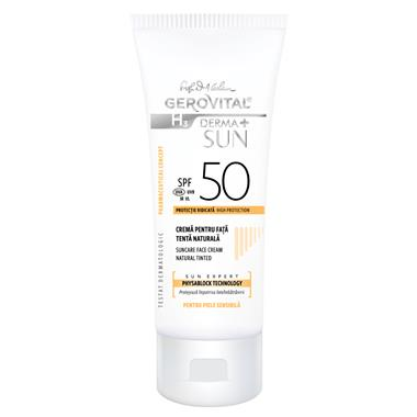 gerovital Suncare Face Cream SPF 50 Natural Tinted recipient